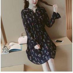 Munai - Long-Sleeve Floral Chiffon Dress