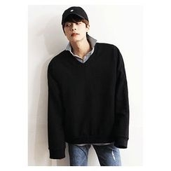 HOTBOOM - V-Neck Drop-Shoulder Pullover