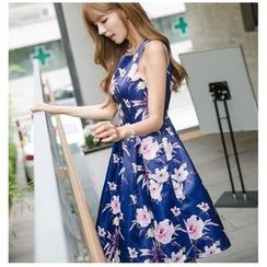 Dowisi - Floral Print Sleeveless A-Line Dress