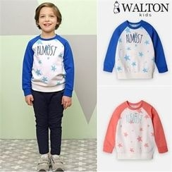 WALTON kids - Kids Contrast-Sleeve Star Pattern Sweatshirt