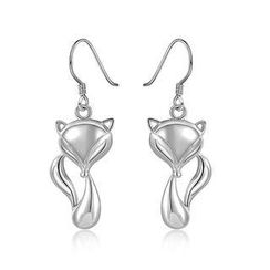 BELEC - 925 Sterling Silver Fox Earrings