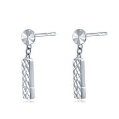 MaBelle - 14K White Gold Dangling Bar Earrings