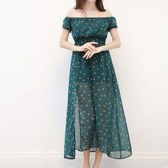 Everose - Off-Shoulder Dotted Chiffon Dress