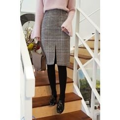 CHERRYKOKO - Glen-Plaid Wool Blend Pencil Skirt