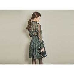 UUZONE - Smocked-Waist Leopard Chiffon A-Line Dress