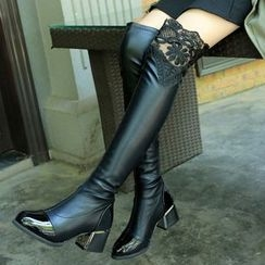 Yoflap - Lace Trim Chunky Heel Over-the-Knee Boots