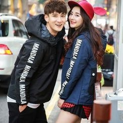 Evolu Fashion - Couple Matching Lettering Half-Zip Windbreaker