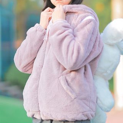 Moricode - Faux Fur Hooded Jacket