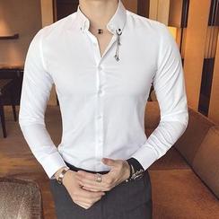 Orizzon - Long-Sleeve Chain-Accent Shirt