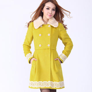 O.SA - Lace-Trim Furry-Collar Coat