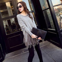 Bubbleknot - Fringed Long Knit Top