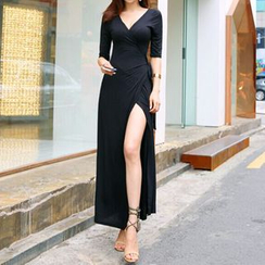 Carabecca - Elbow-Sleeve V-Neck Slit Maxi Dress