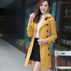 Flower Creek - Double Breasted Lace-Up Lace Trench Coat