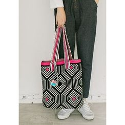 GOROKE - Pompom Patterned Knit Shopper Bag