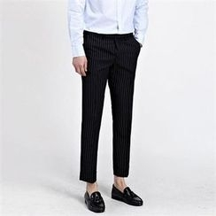 THE COVER - Flat-Front Striped Dress Pants