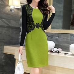 Romantica - Wool Blend Lace Panel Knit Dress