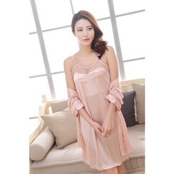 SOVINEER - Set: Mesh Insert Nightdress + Robe
