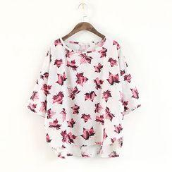 蘭芝 - 樹葉印花短袖T恤