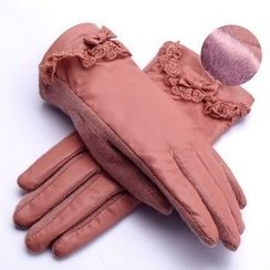 RGLT Scarves - Faux-Leather Panel Wool Blend Gloves
