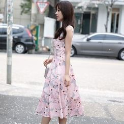 Dowisi - Floral Print Sleeveless Dress