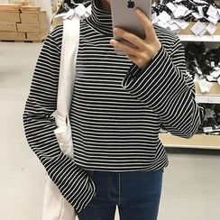 Glen Glam - Turtleneck Striped Long Sleeve T-Shirt