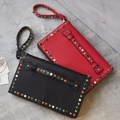 Shinian - Faux Leather Studded Clutch
