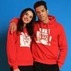 HappyTee - Printed Drawstring Hooded Couple Pullover