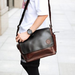 BagBuzz - Two Tone Faux Leather Messenger Bag