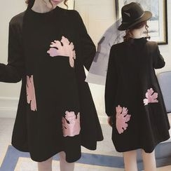 Ceres - Maternity Long-Sleeve Applique A-Line Dress