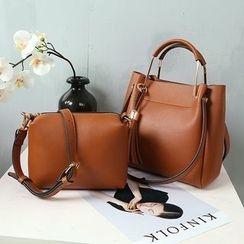 Lamia - Set: Faux Leather Tote + Shoulder Bag