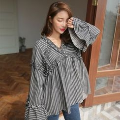 PPGIRL - Frilled-Trim Striped Top