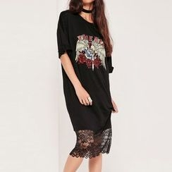 Obel - Lace Hem Printed Midi Dress
