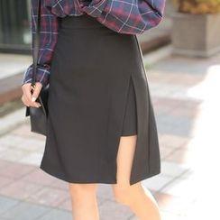 Cherryville - Cutout-Front Layered A-Line Skirt