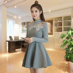 Romantica - Wool Blend Long-Sleeve Paneled A-Line Dress