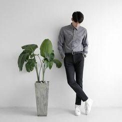 Seoul Homme - Long-Sleeve Dual-Pocket Shirt