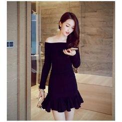 Lovi - Long-Sleeve Off Shoulder Frilled Sheath Dress