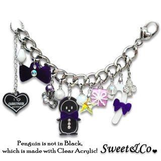 Sweet & Co. - Violet Bowtie Penguin & Candy Stick Lovely Swarovski Crystal Bracelet