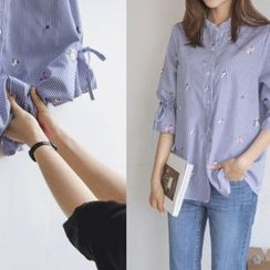 JUSTONE - Drawstring-Sleeve Flower-Embroidered Stripe Shirt