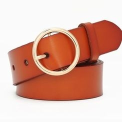 HANYI - Genuine-Leather Hoop Buckle Belt