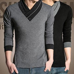 Besto - V-Neck Long-Sleeve Top