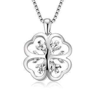 MaBelle - 14K White Gold Diamond-Cut Filigree Style Four Leaf Clover Snowflake Necklace (16'')