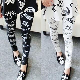 Clair Fashion - Cross-Print Leggings
