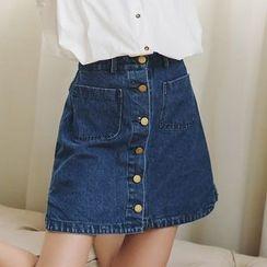 Porta - Button Down A-Line Denim Skirt