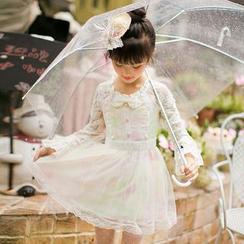 糖果雨 - 小童长袖蕾丝拼接连衣裙