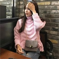QNIGIRLS - Turtle-Neck Patterned Sweater