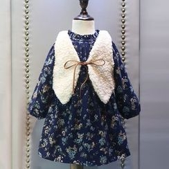 Rakkaus - Kids Set: Fleece-Lined Printed Dress + Tie-Front Vest