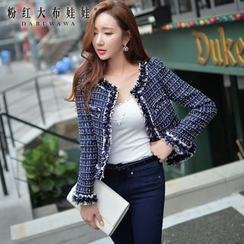 Dabuwawa - Fringed Plaid Cropped Jacket
