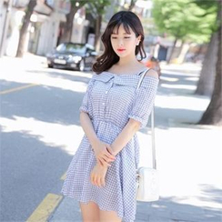 TOM & RABBIT - Cutout Shoulder Gingham Mini Dress