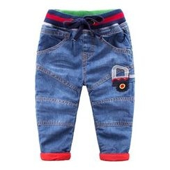DEARIE - Kids Truck Applique Drawstring Jeans