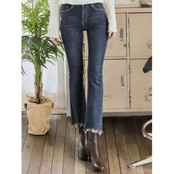 LOLOten - Fringe-Hem Boot-Cut Jeans